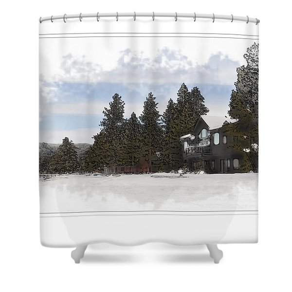 Cabin In Snow With Mountains In Background Shower Curtain