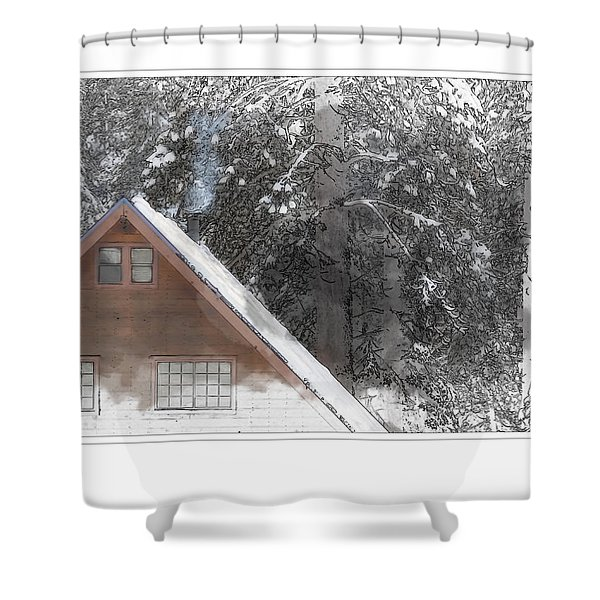 Cabin In The Winter Shower Curtain