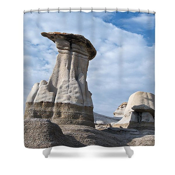 Capped Hoodoo And Clouds Shower Curtain