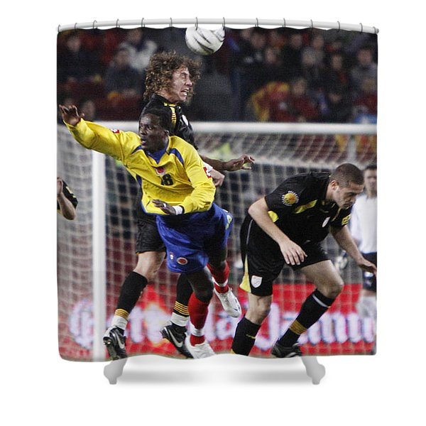 Shower Curtain featuring the photograph Carles Puyol Jumping by Agusti Pardo Rossello