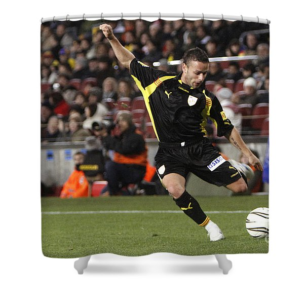 Shower Curtain featuring the photograph Catalan Player Shooting by Agusti Pardo Rossello