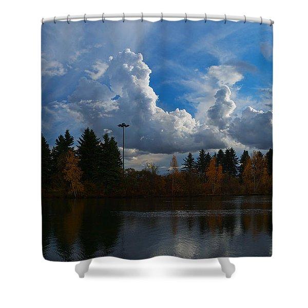 Central Pond Hawrelak Park Edmonton Shower Curtain