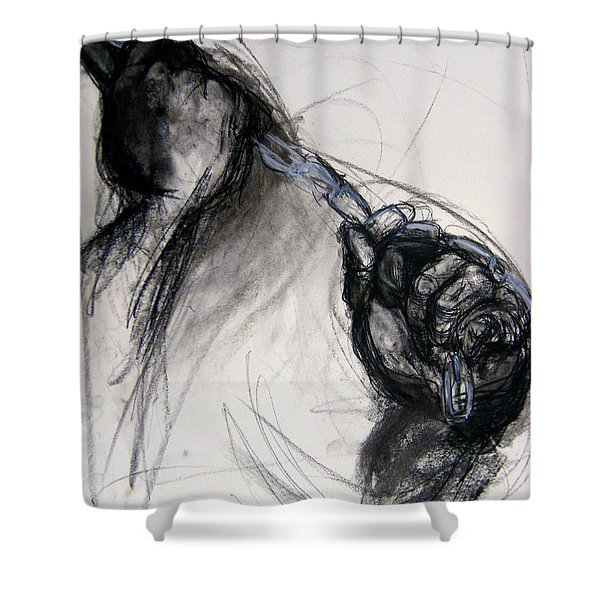 Shower Curtain featuring the drawing Chain by Gabrielle Wilson-Sealy