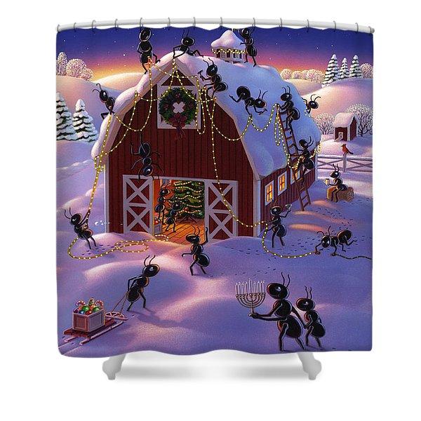 Christmas Decorator Ants Shower Curtain