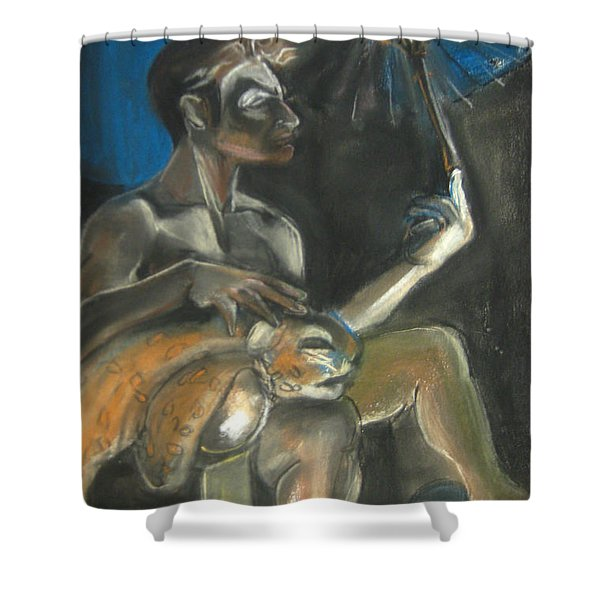Shower Curtain featuring the drawing Circus Man by Gabrielle Wilson-Sealy