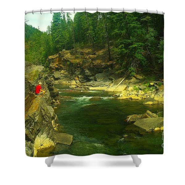 Cliff Over The Yak River Shower Curtain