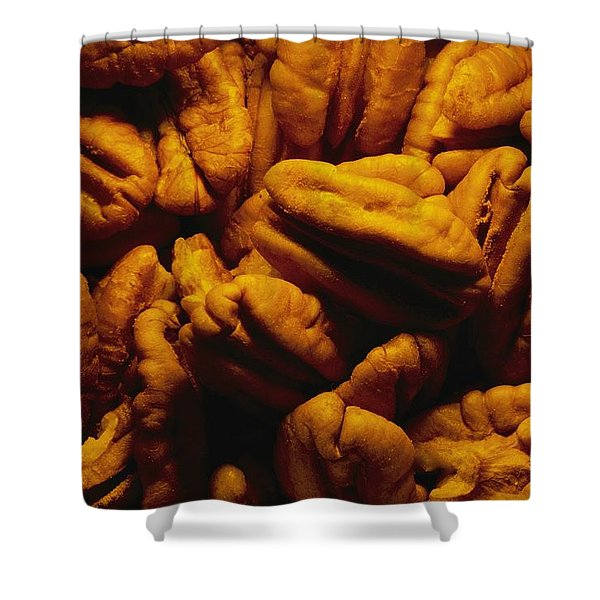 Close View Of Shelled Pecans In Warm Shower Curtain