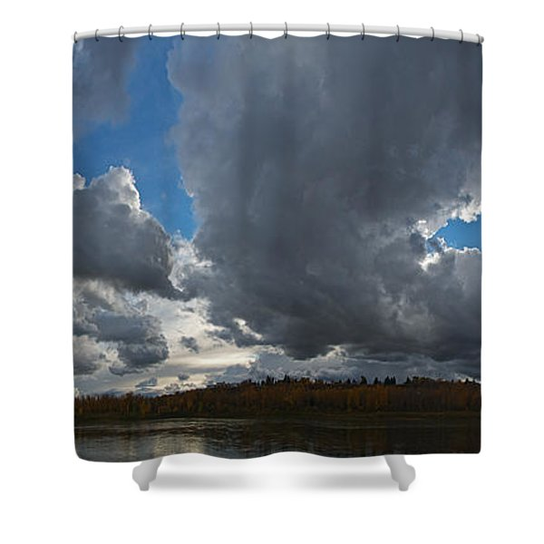 Clouds And River Edmonton Shower Curtain