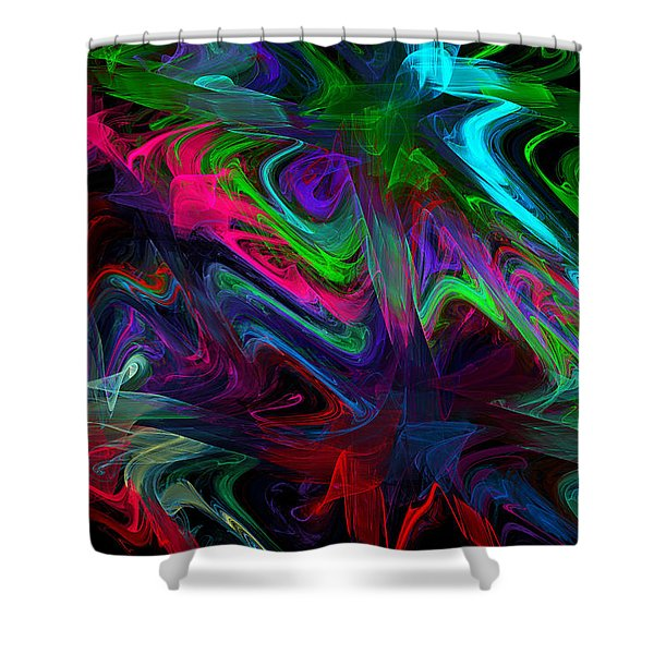 Computer Generated Blue Green Abstract Wave Fractal Flame Modern Art Shower Curtain