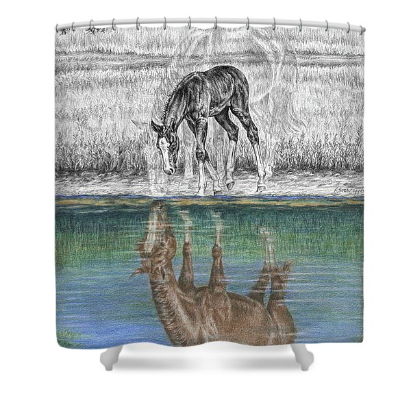 Contemplating Reality - Mare And Foal Horse Print Shower Curtain