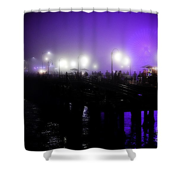 Cool Night At Santa Monica Pier Shower Curtain