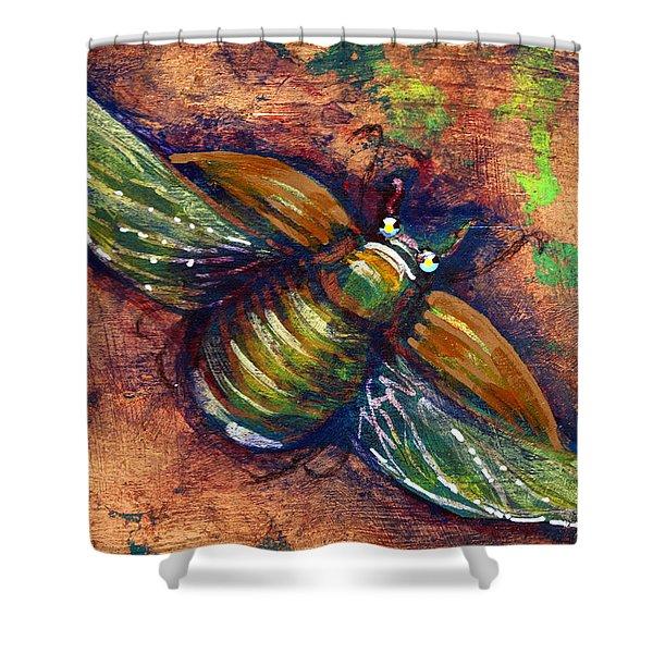 Copper Beetle Shower Curtain