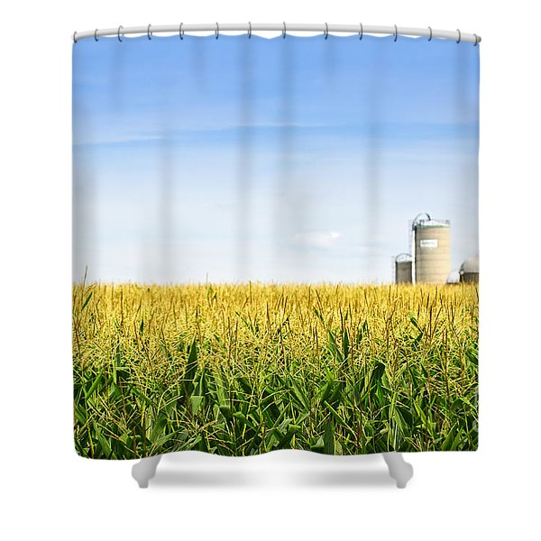 Corn Field With Silos Shower Curtain