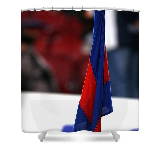 Shower Curtain featuring the photograph Corner Flag Of Camp Nou by Agusti Pardo Rossello