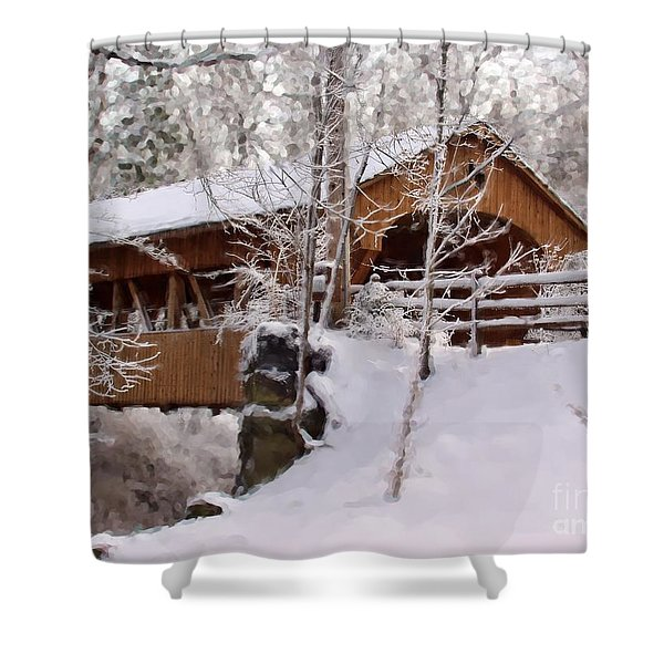 Covered Bridge At Olmsted Falls - 2 Shower Curtain