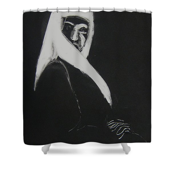 Shower Curtain featuring the drawing Waiting by Gabrielle Wilson-Sealy