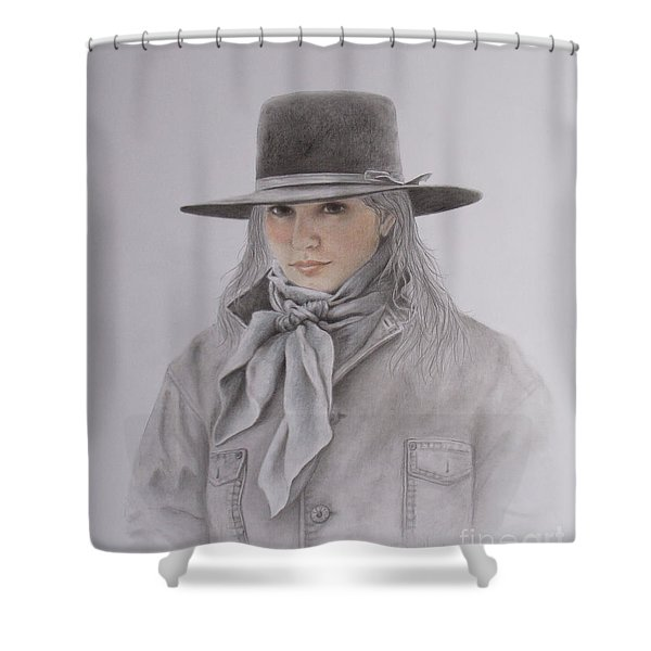 Cowgirl In Hat Shower Curtain