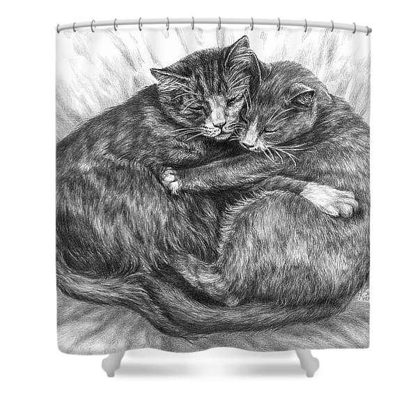 Cuddly Cats - Black And White Art Print Shower Curtain