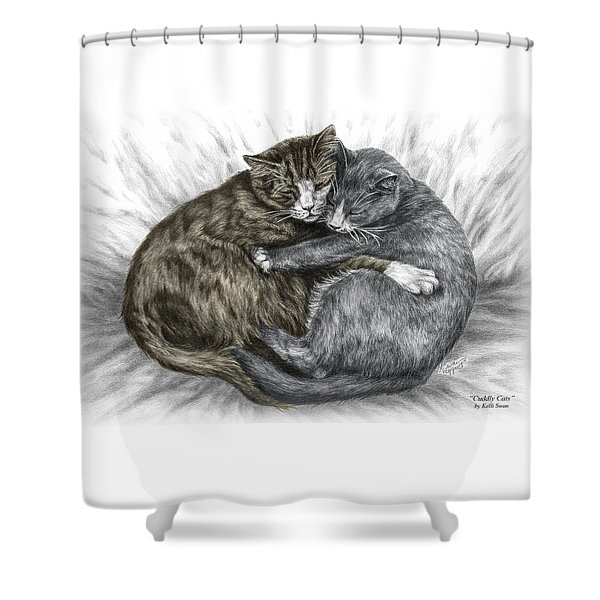 Cuddly Cats - Color Tinted Art Print Shower Curtain