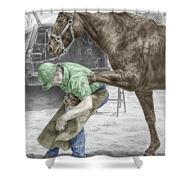 Custom Made - Farrier And Horse Print Color Tinted Shower Curtain