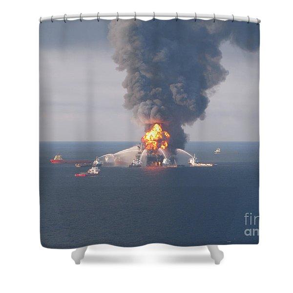 Deepwater Horizon Fire, April 21, 2010 Shower Curtain