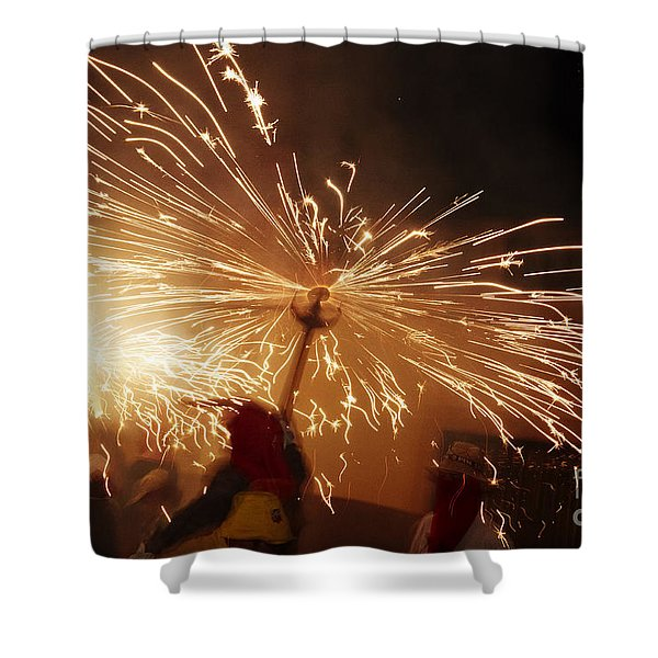 Shower Curtain featuring the photograph Demon Sparking by Agusti Pardo Rossello