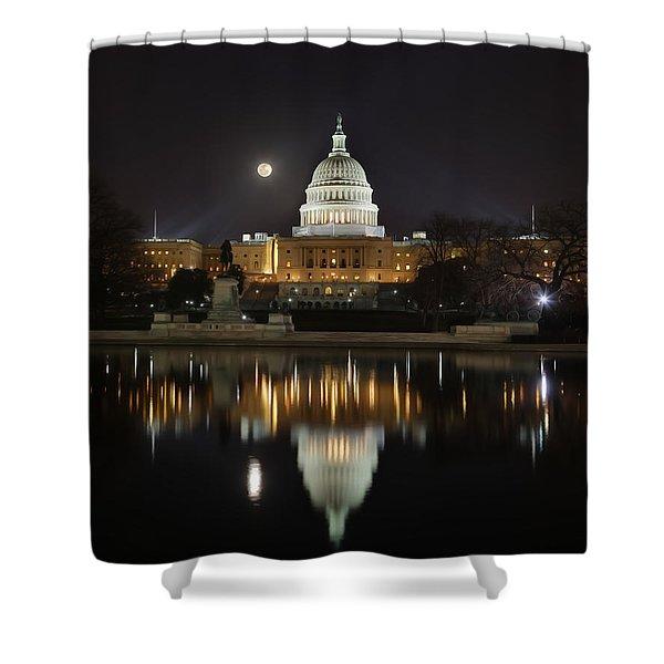 Digital Liquid - Full Moon At The Us Capitol Shower Curtain