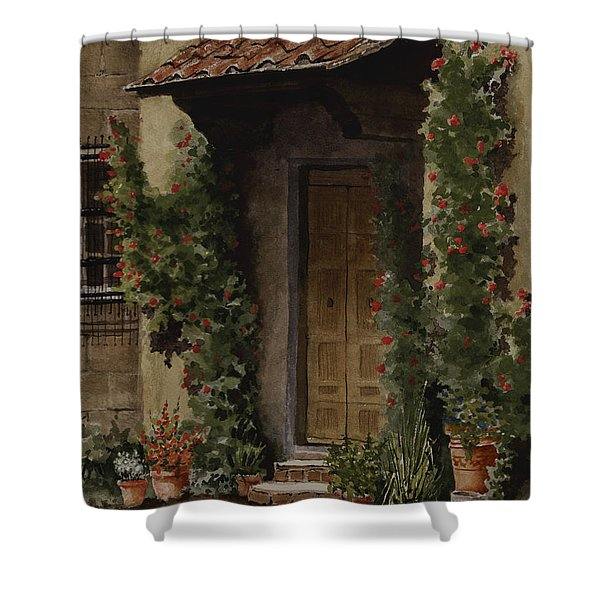 Door With Roses Shower Curtain