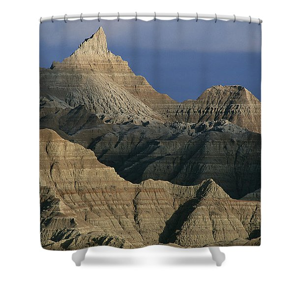 Dramatic Peaks Dominate A  Portion Shower Curtain