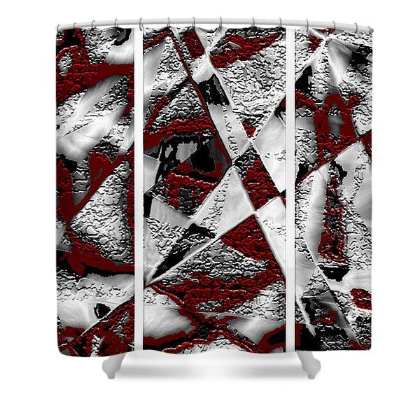 Dramatique Red Triptych Shower Curtain