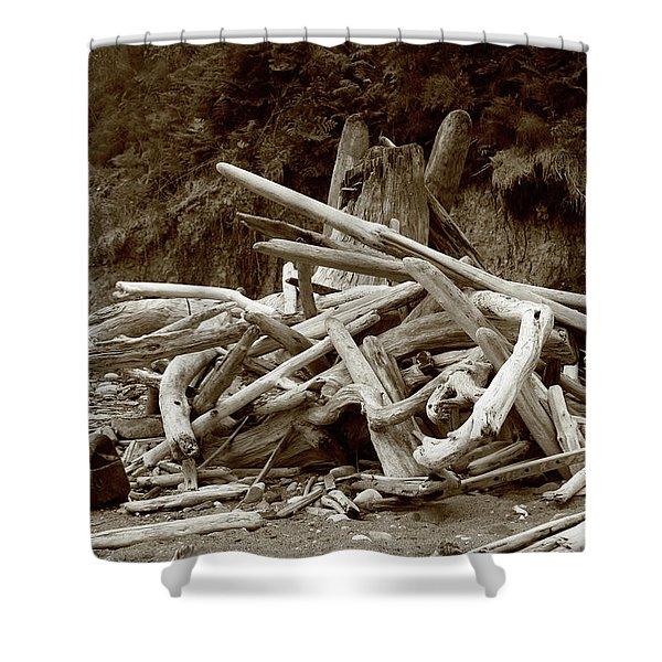 Driftwood Pile San Juan Shower Curtain