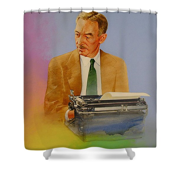Shower Curtain featuring the painting E B White by Cliff Spohn