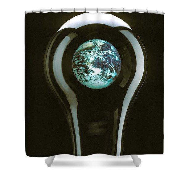Earth In Light Bulb  Shower Curtain