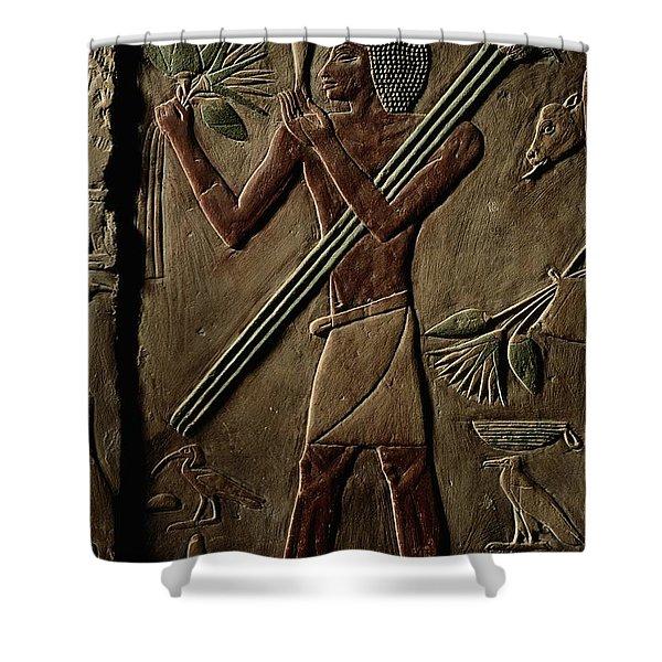 Egyptian Tomb Panel At Saqqara Shower Curtain