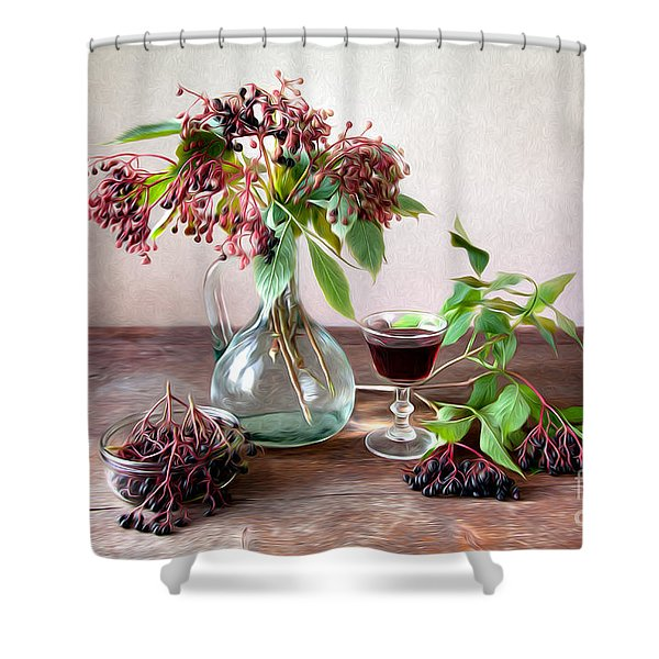Elderberries 02 Shower Curtain