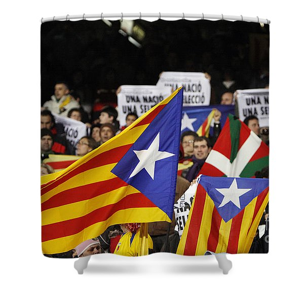 Shower Curtain featuring the photograph Estelada In Catalonia National Team Match by Agusti Pardo Rossello