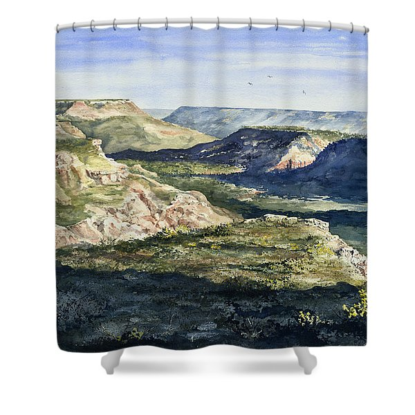 Evening Flight Over Palo Duro Canyon Shower Curtain