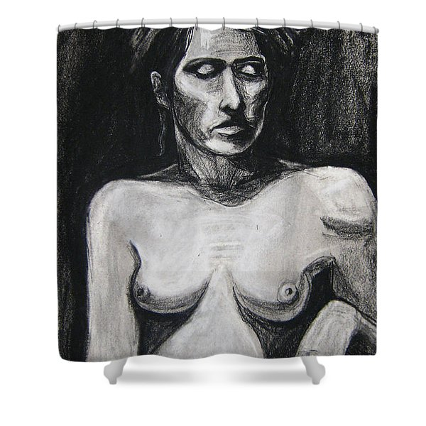 Shower Curtain featuring the drawing Feathers by Gabrielle Wilson-Sealy