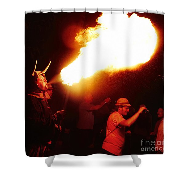 Shower Curtain featuring the photograph Fire Stroke by Agusti Pardo Rossello