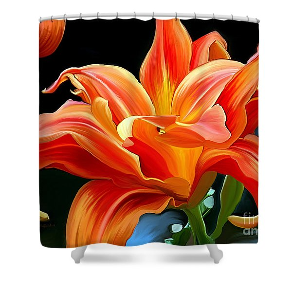 Flaming Flower Shower Curtain