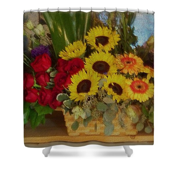 Shower Curtain featuring the photograph Flower Basket by Charles Robinson