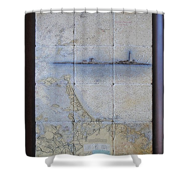 Framed Nautical Chart Of Hingham And Hull With Boston Light  Shower Curtain
