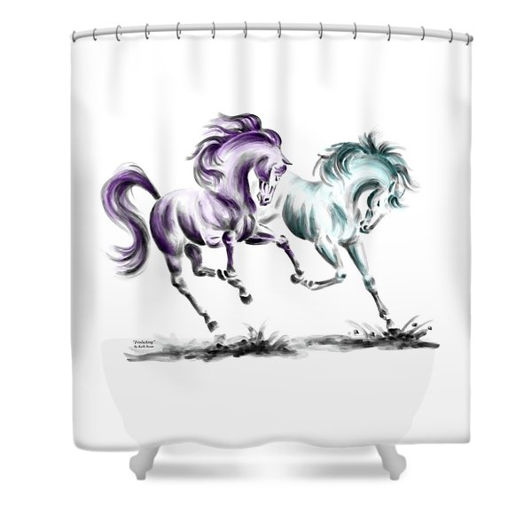Frolicking - Wild Horses Print Color Tinted Shower Curtain