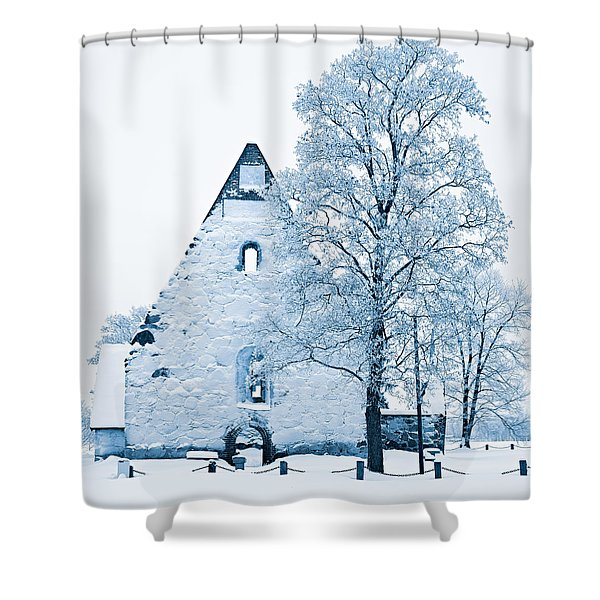 Frosty Ruins Shower Curtain