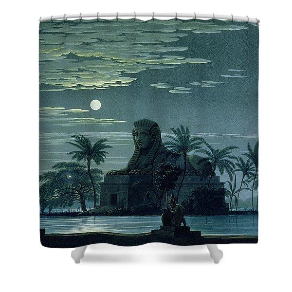 Garden Scene With The Sphinx In Moonlight Shower Curtain