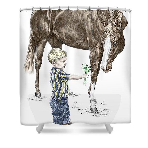 Getting To Know You - Boy And Horse Print Color Tinted Shower Curtain