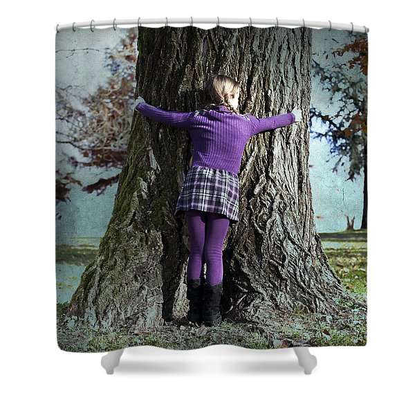 Girl Hugging Tree Trunk Shower Curtain