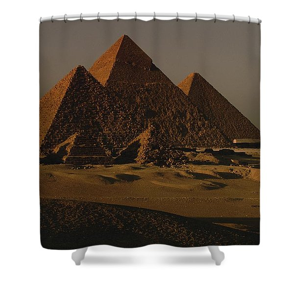 Giza Pyramids From Left Kings Menkure Shower Curtain