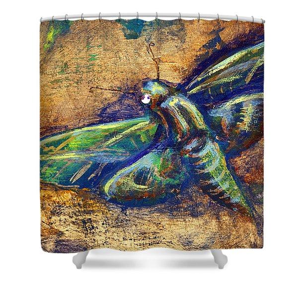 Gold Moth Shower Curtain