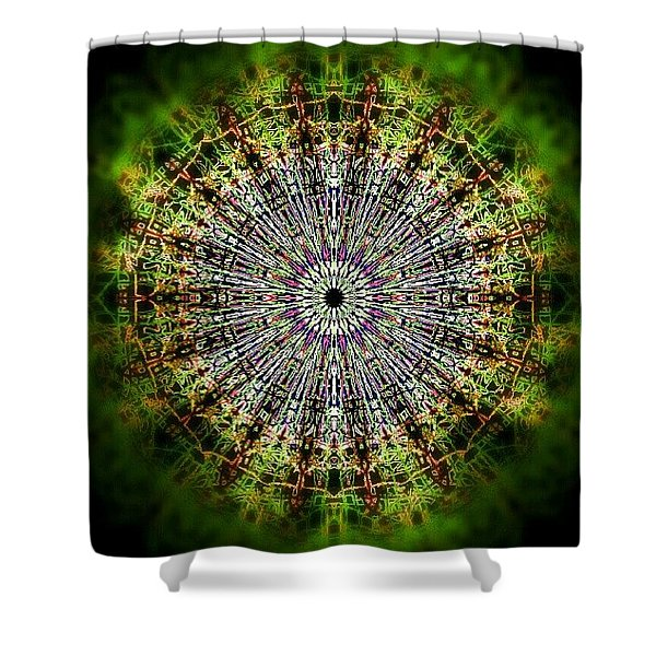 Green Mist Mandala Shower Curtain
